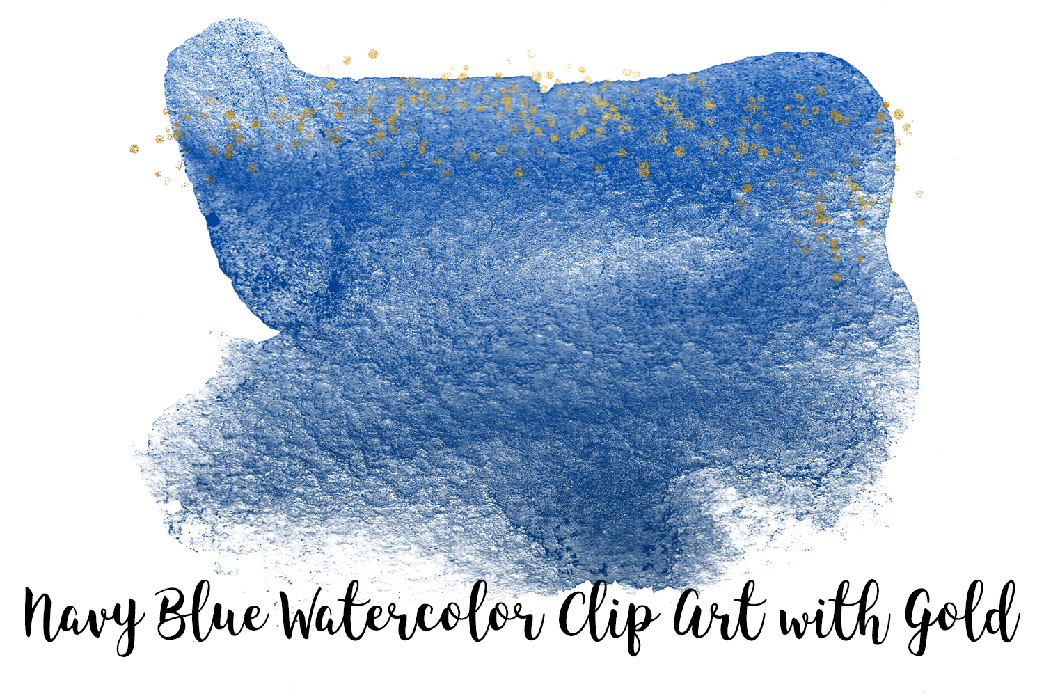 Navy Blue Watercolor Clip Art with Gold, Transparent PNG example image 5