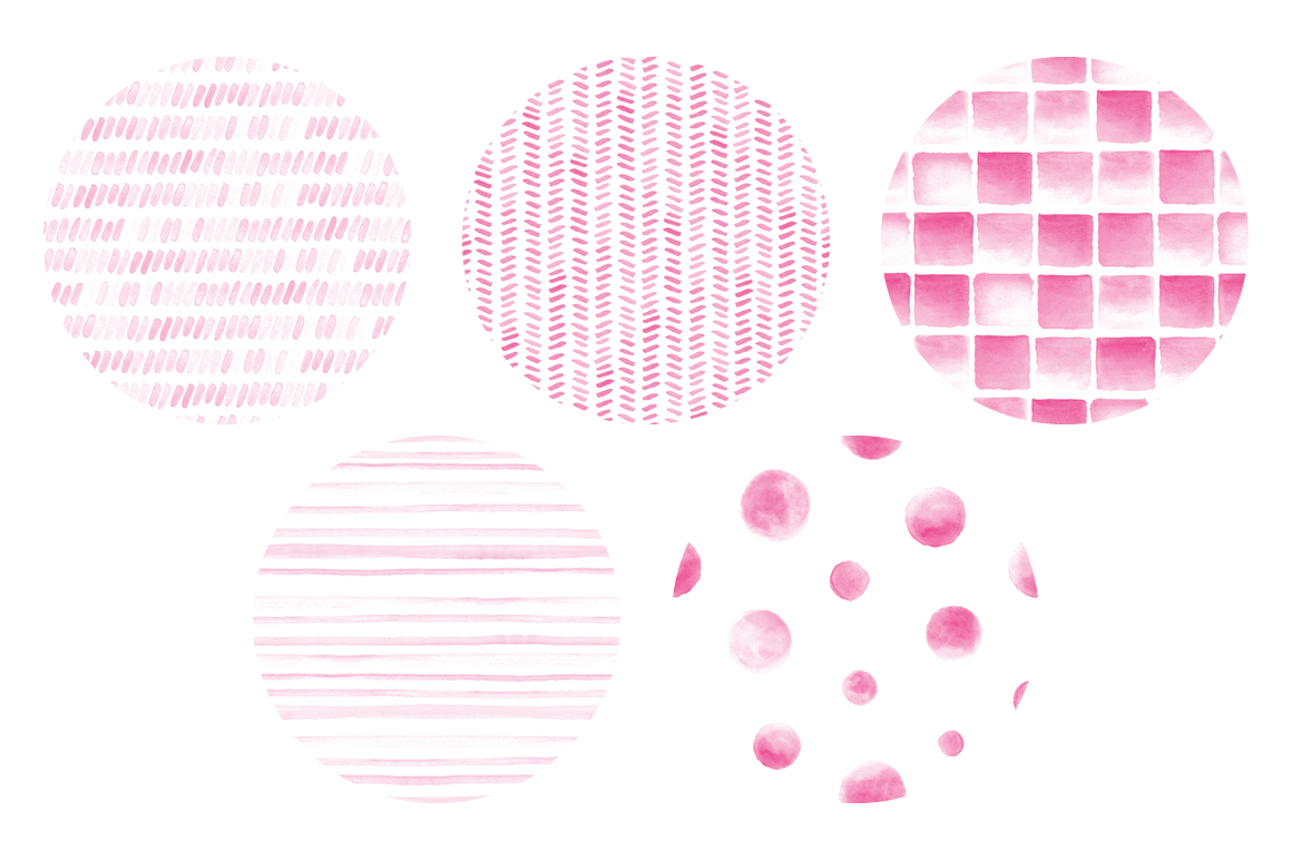 20 Seamless Watercolor Patterns Pink example image 2