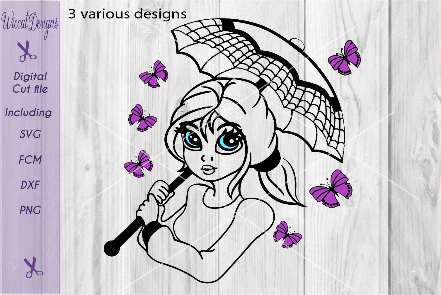 Butterfly girl svg, Umbrella girl svg, Girl face svg, summer girl svg example image 3