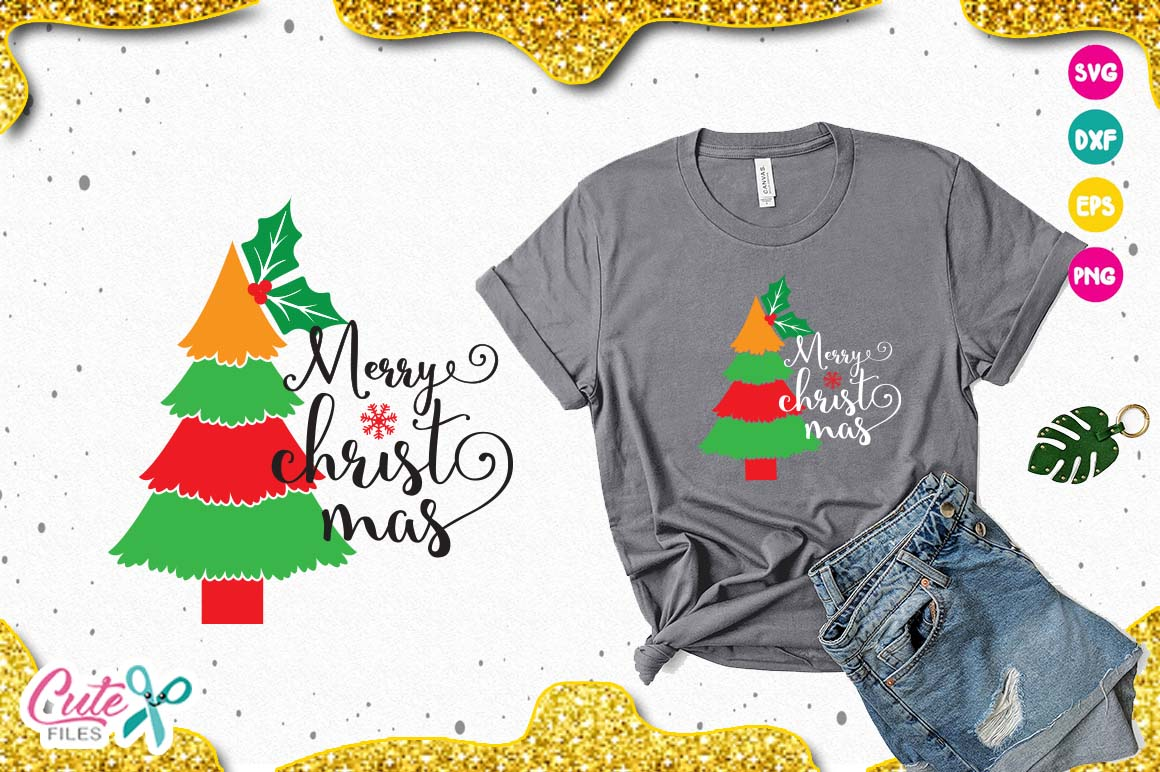 Christmas tree svg, holly leaves, merry christmas example image 1