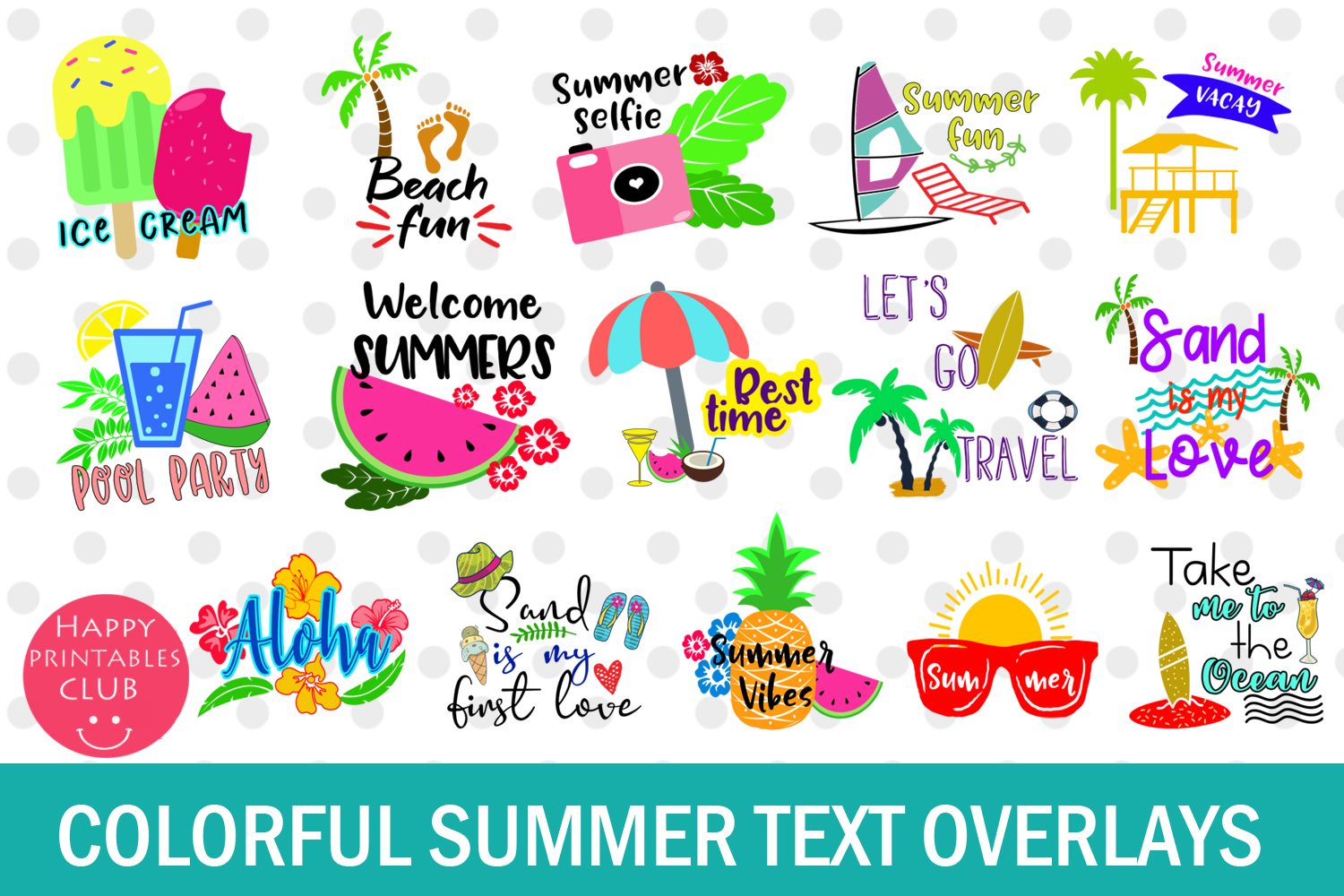 Summer Text Overlays- Summer Cards- Summer Text Clipart example image 2