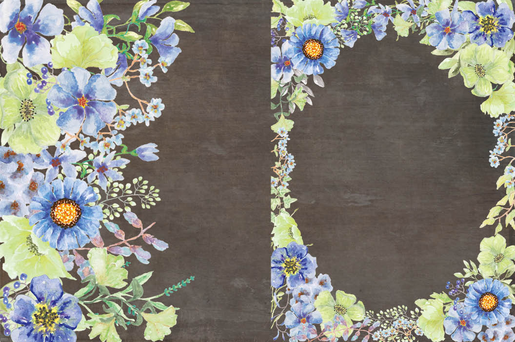 'Moody Blue' watercolor clip art bundle example image 4
