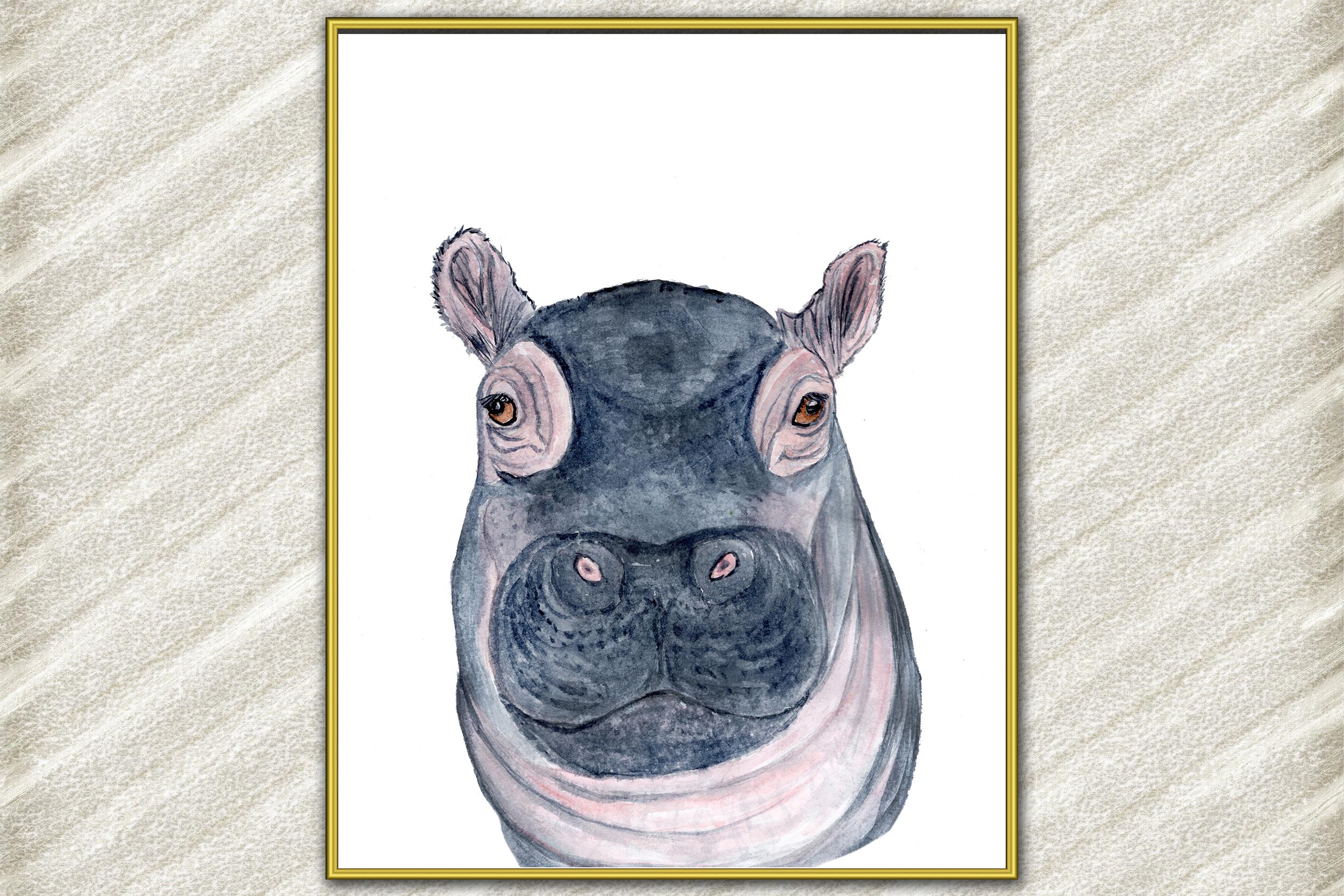 Baby hippo Watercolor Art Print, Nursery art print, Wall art example image 1