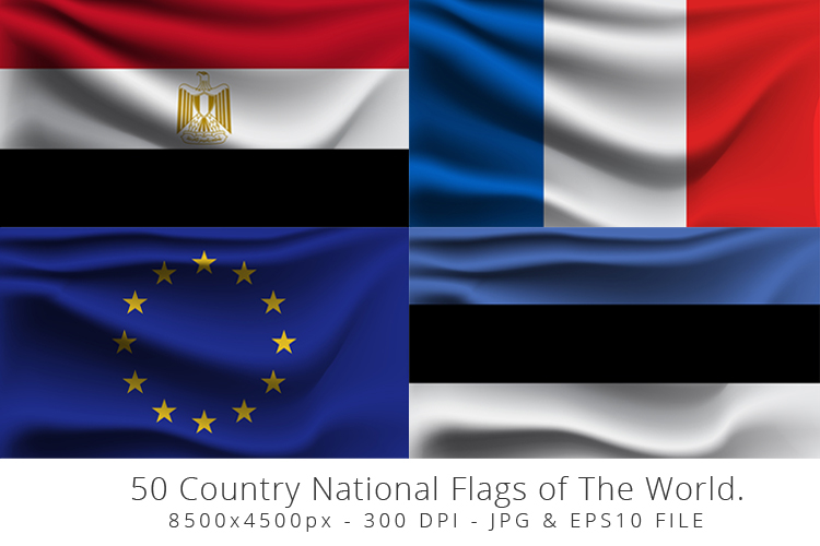 Realistic waving 50 Country National Flags of The World. example image 5