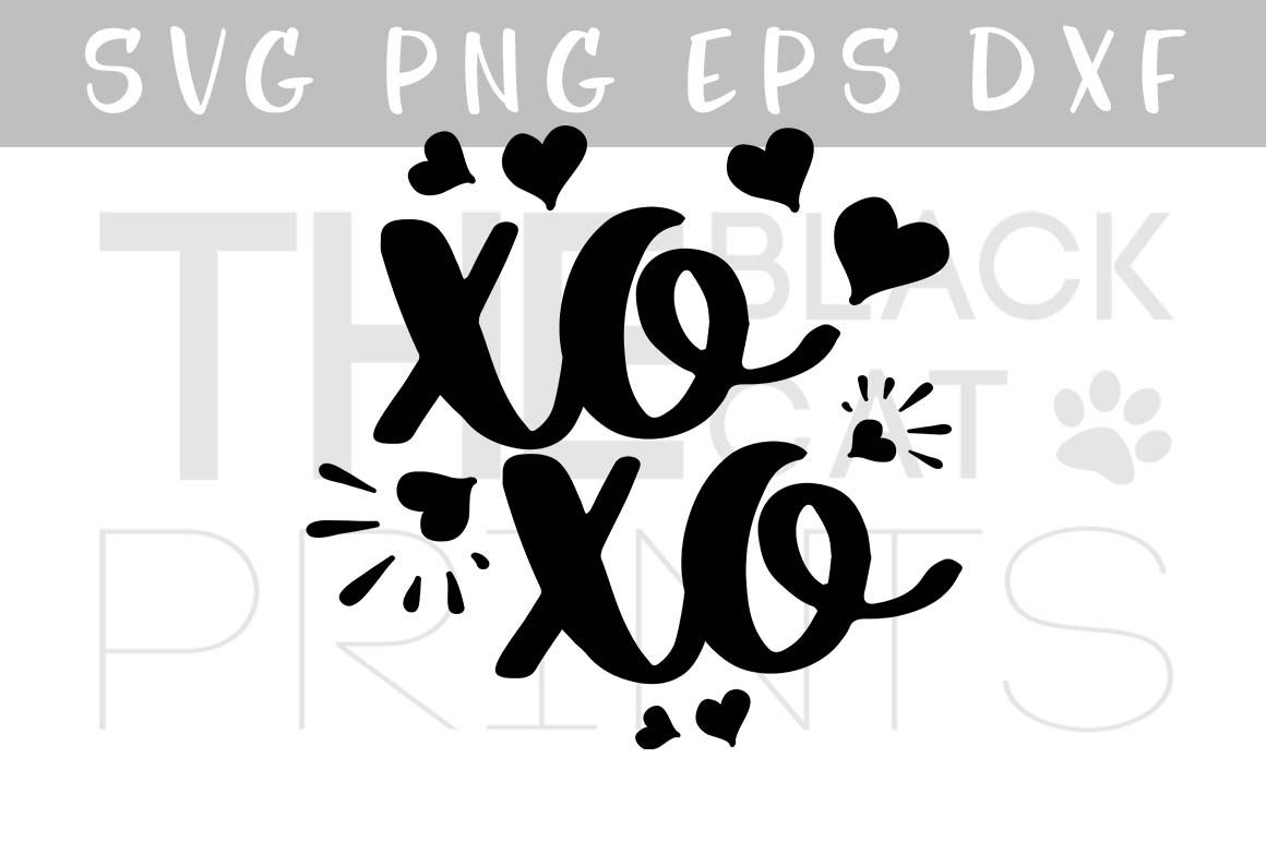 XOXO Svg Hugs and kisses SVG PNG EPS DXF Hearts svg design example image 1