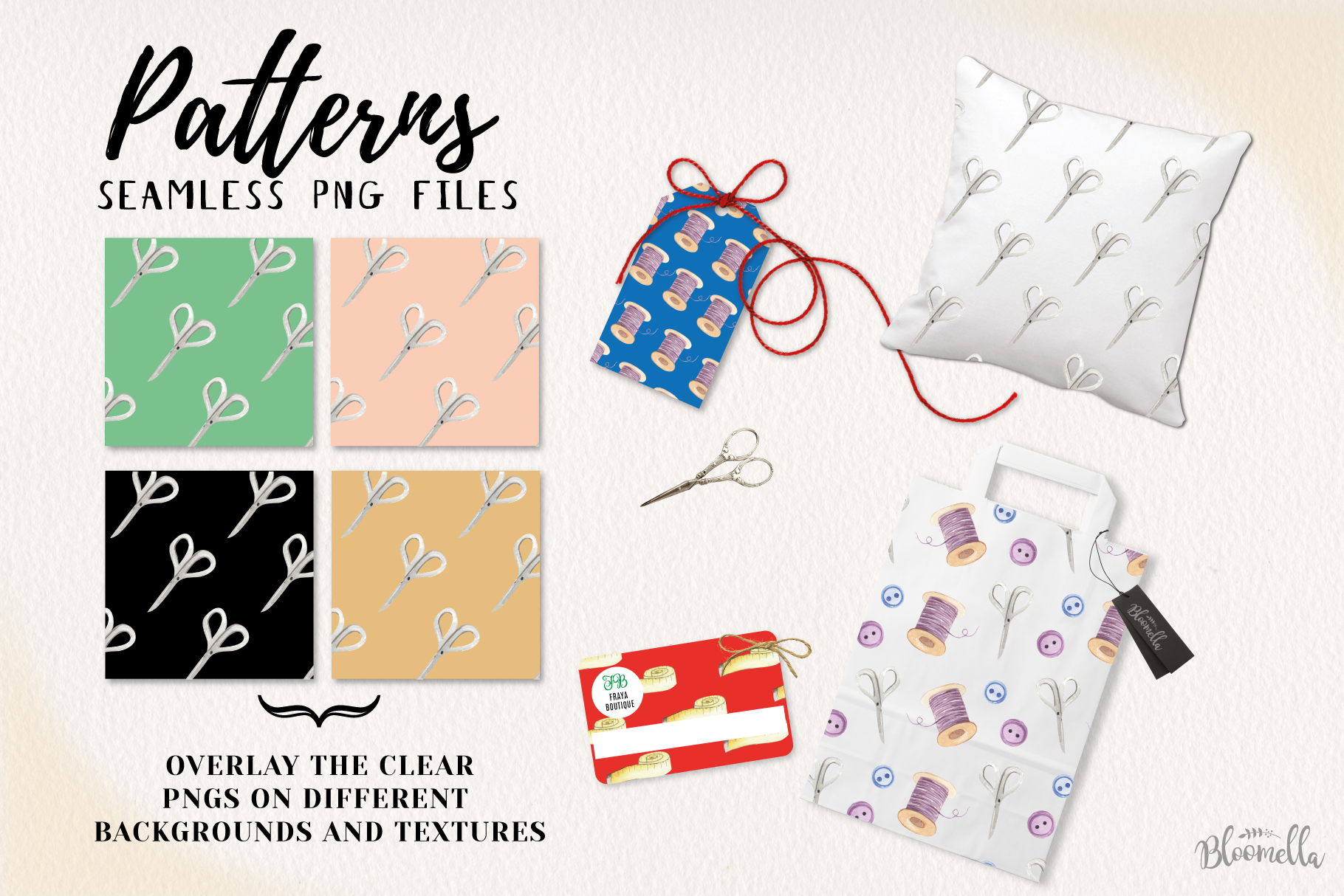 Sewing Seamless Patterns Digital Papers Stitch Button Sew example image 2