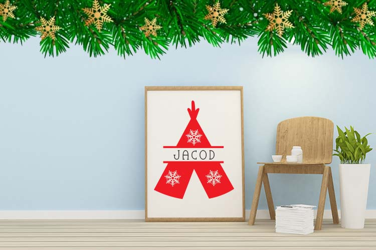 Christmas Mono, a font with frames of Christmas monograms example image 3