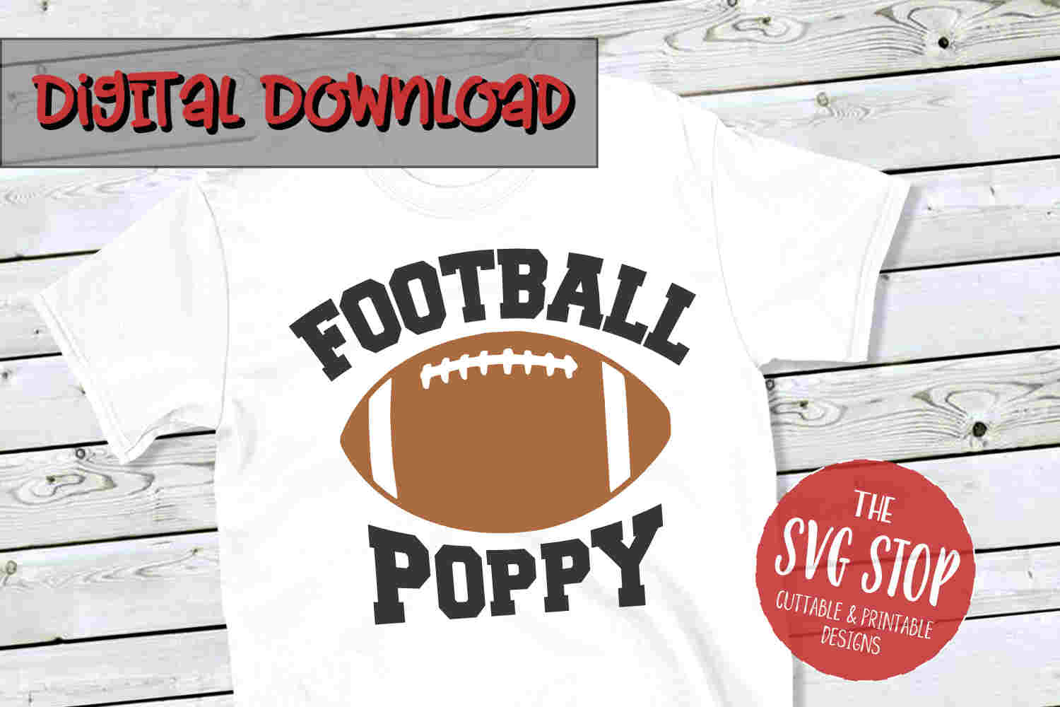 Football Poppy -SVG, PNG, DXF example image 1