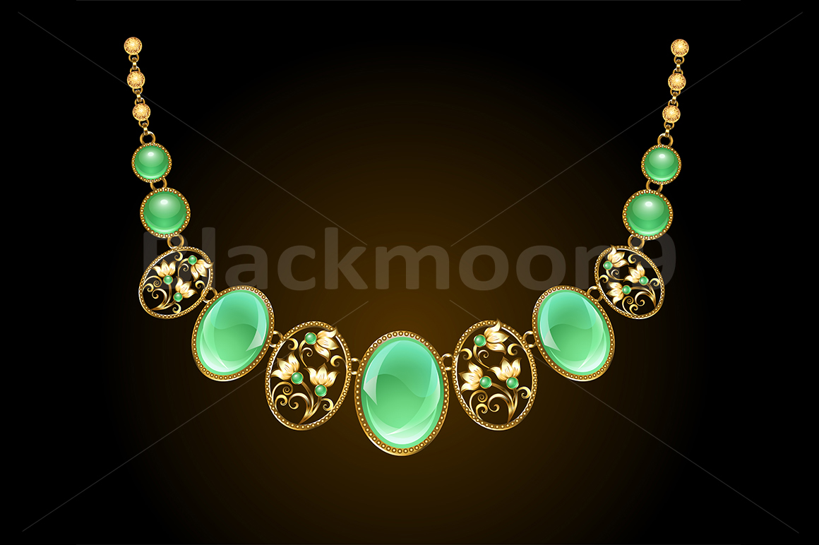 Golden Necklace with Chrysoprase example image 1