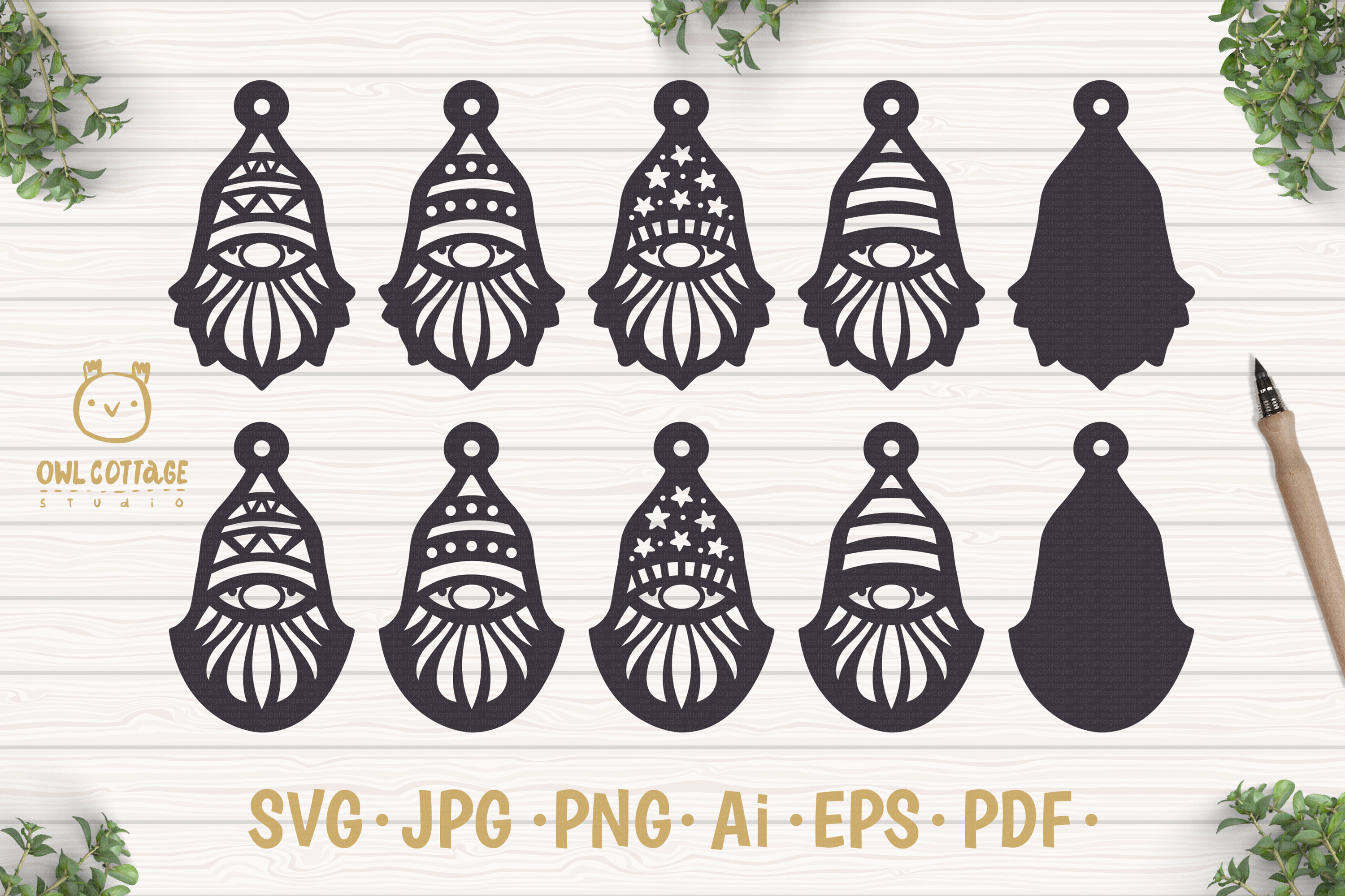Gnomes Earrins Template Set SVG, Gnome Clipart, Tomte example image 1