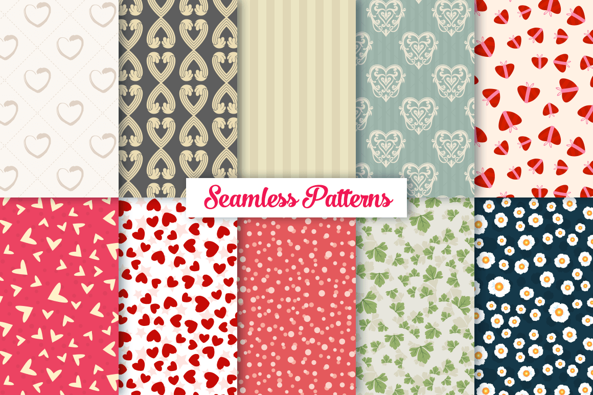 100 Heart Vector Ornaments and Seamless Patterns example image 11