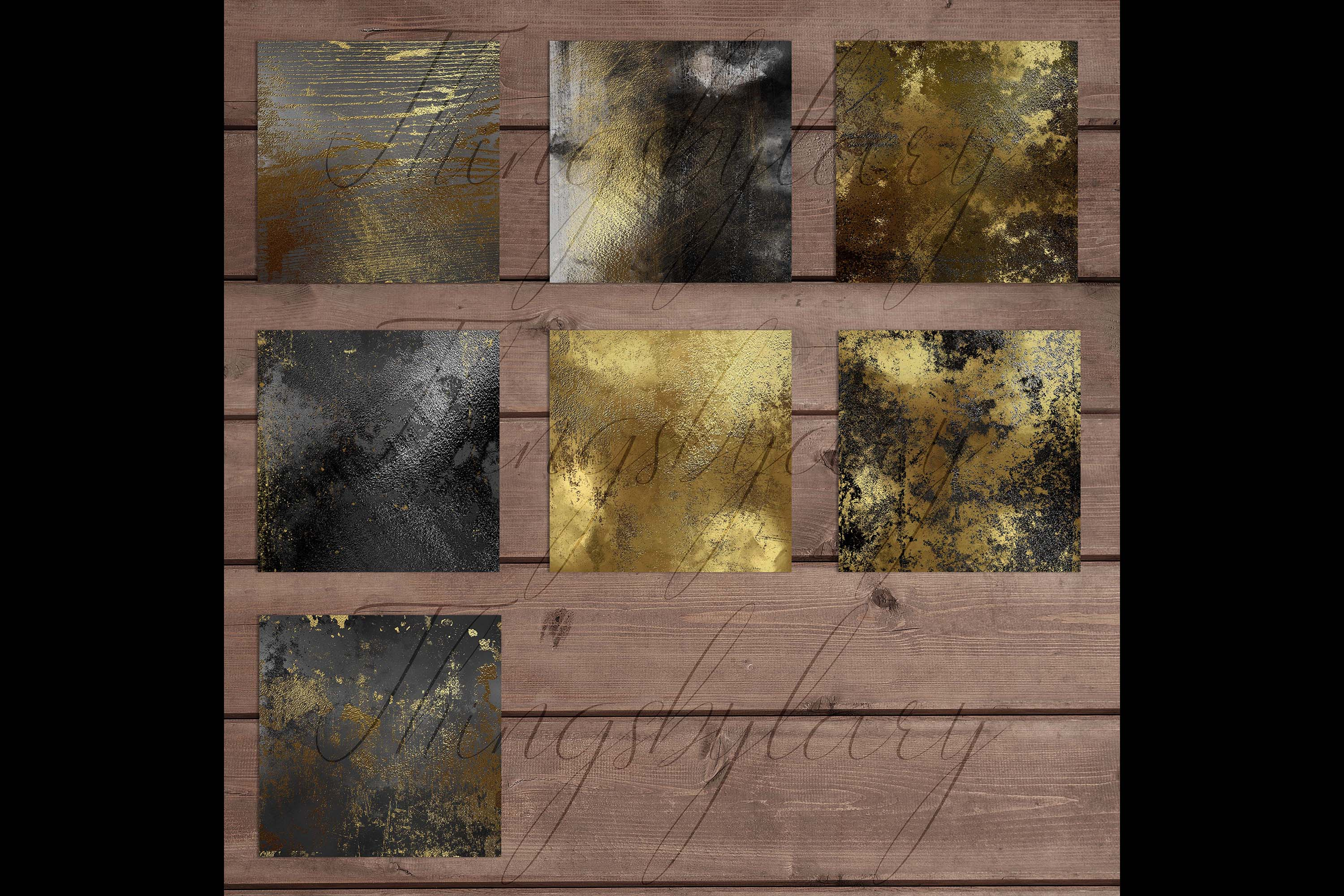 16 Distressed Metallic Gold Foil and Black Digital Papers example image 10