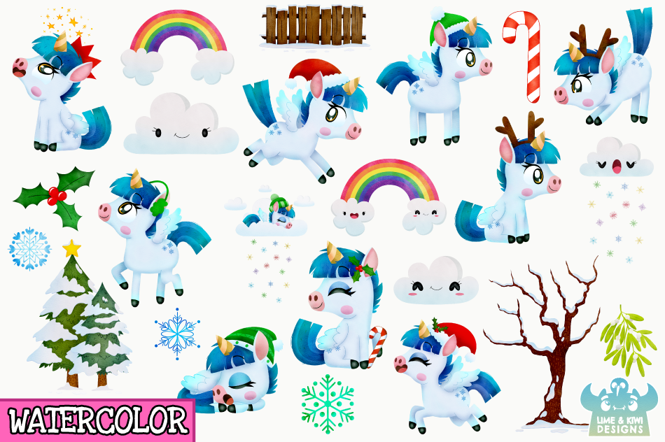Christmas Unicorns 3 Watercolor Clipart, Instant Download example image 2