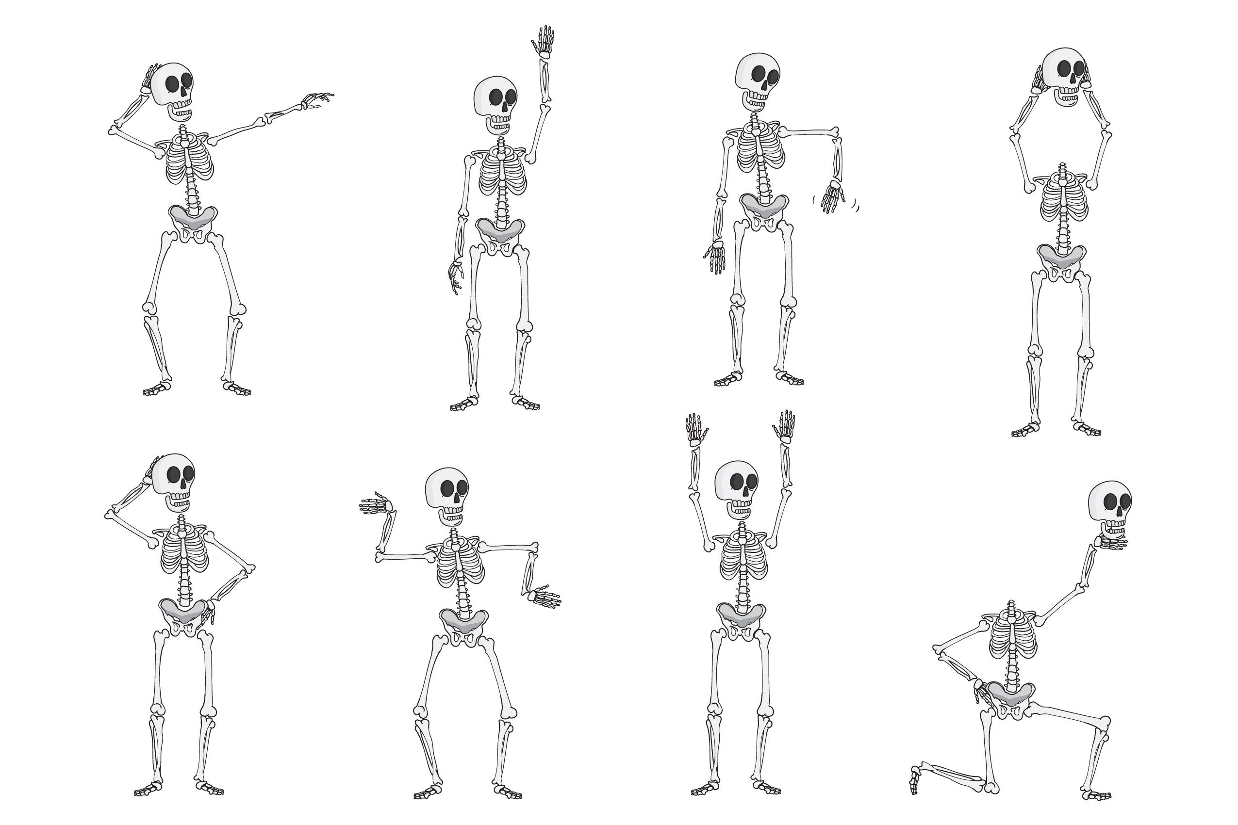 Skeleton Vector Clipart Pack example image 2