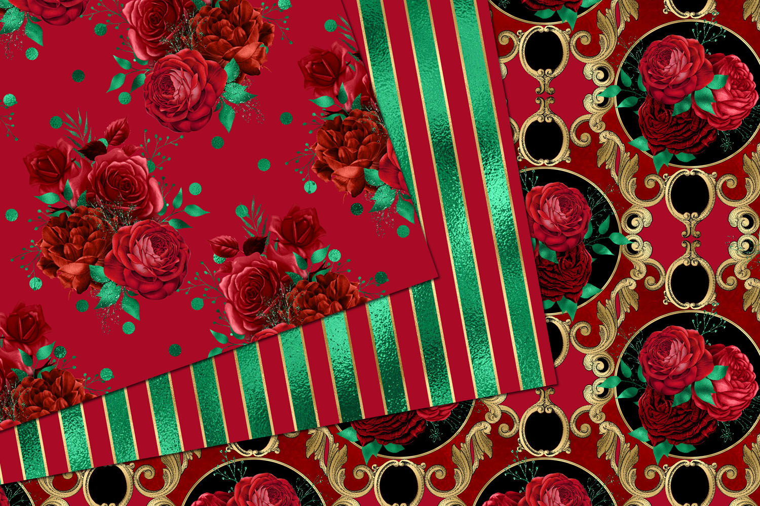 Red and Green Floral Digital Paper example image 2