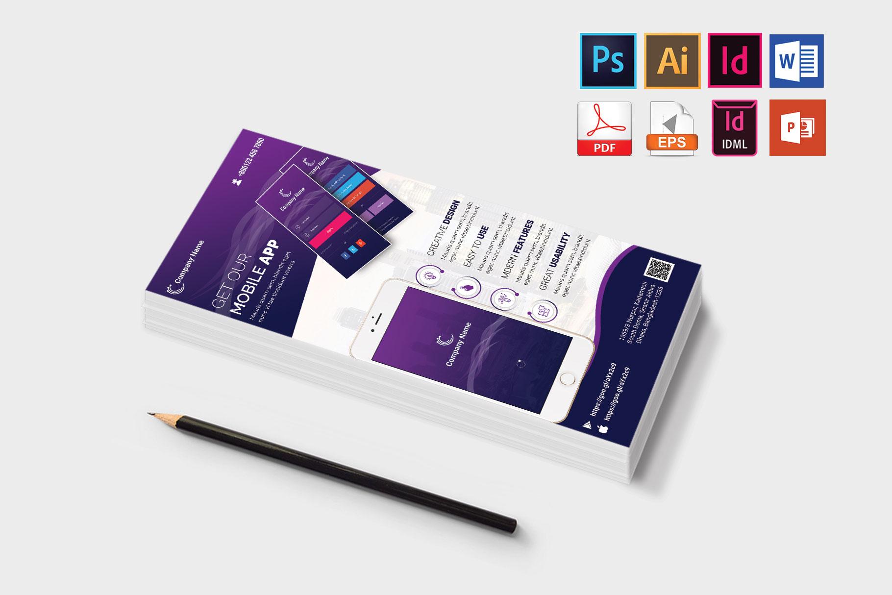Mobile App Promotion DL Flyer Vol-01 example image 3