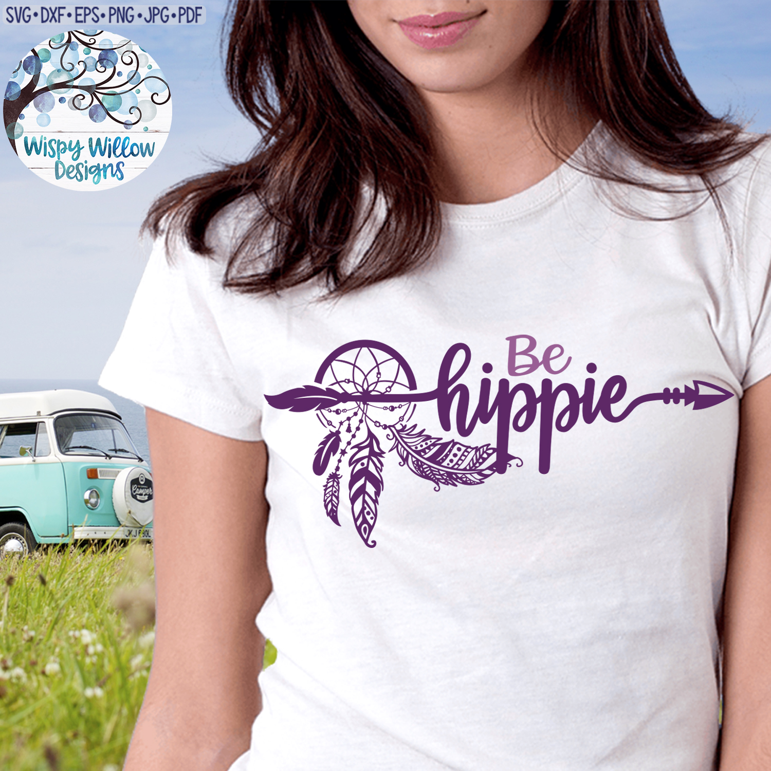 Be Hippy SVG | Dreamcatcher with Feathers | SVG Cut File example image 2