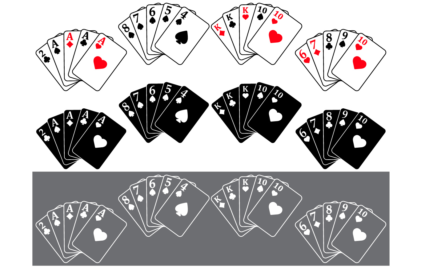 Poker Full House Straight Flush Four of a Kind Straight 742S example image 2