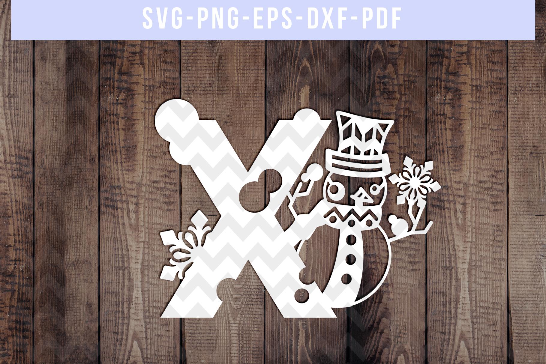 Bundle Of 26 A-Z Snowman Alphabet Papercut Templates, SVG example image 25