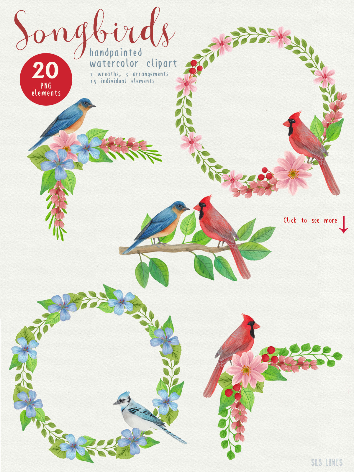 Song Birds Watercolor Clipart example image 6