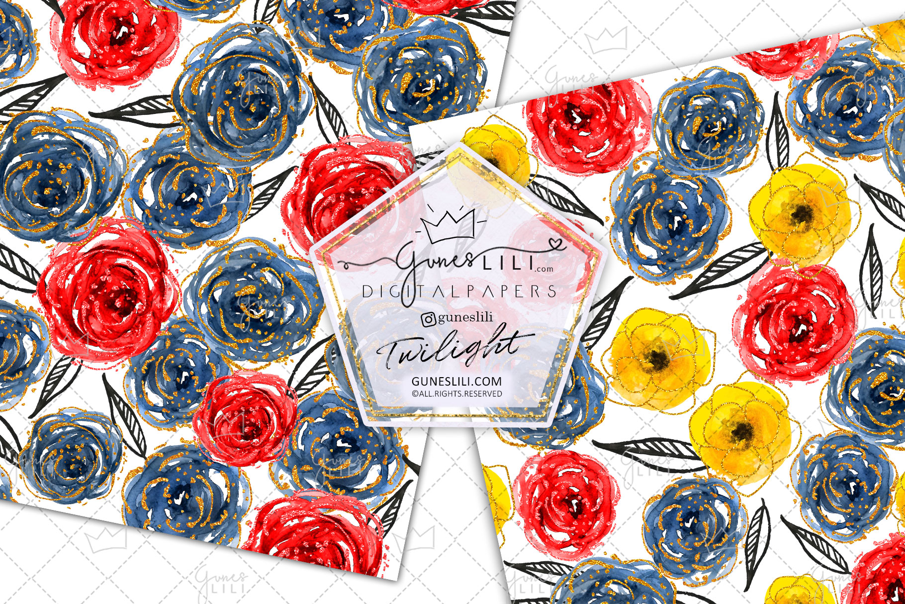 Watercolor Floral Digital Paper Flowers Seamless Pattern example image 4