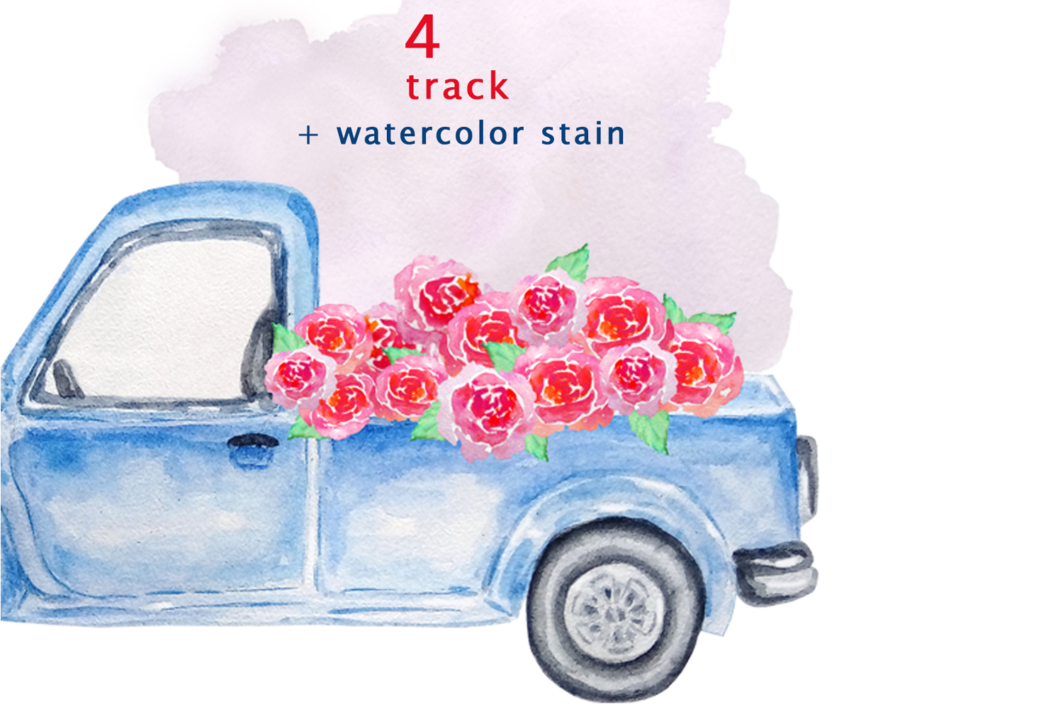 Watercolor Blue Track Clipart example image 4