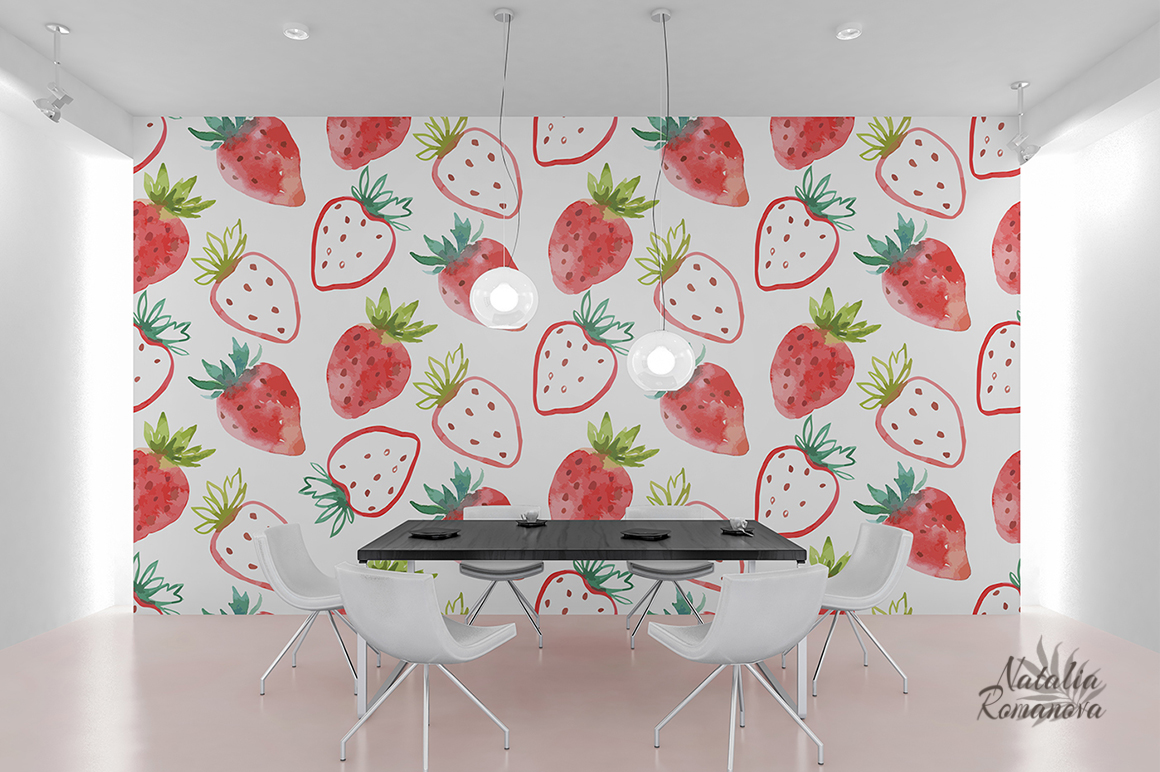 Strawberry watercolor design example image 6
