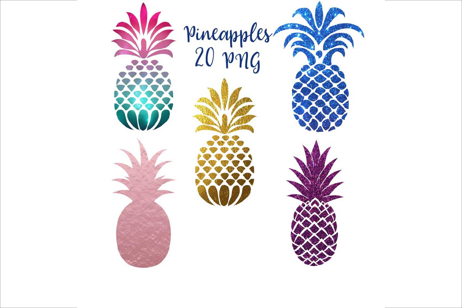 Pineapple Silhouettes Clipart example image 1