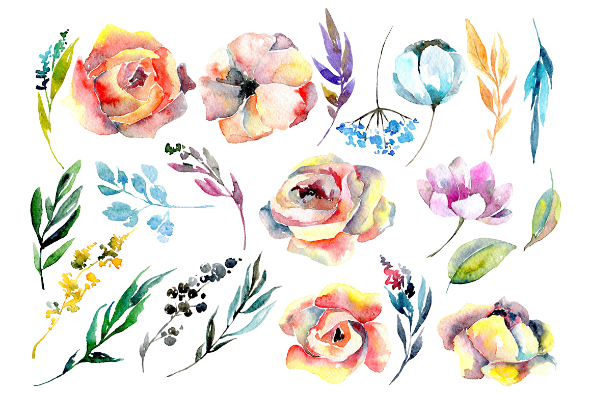Colorful watercolor roses and leaves example image 2