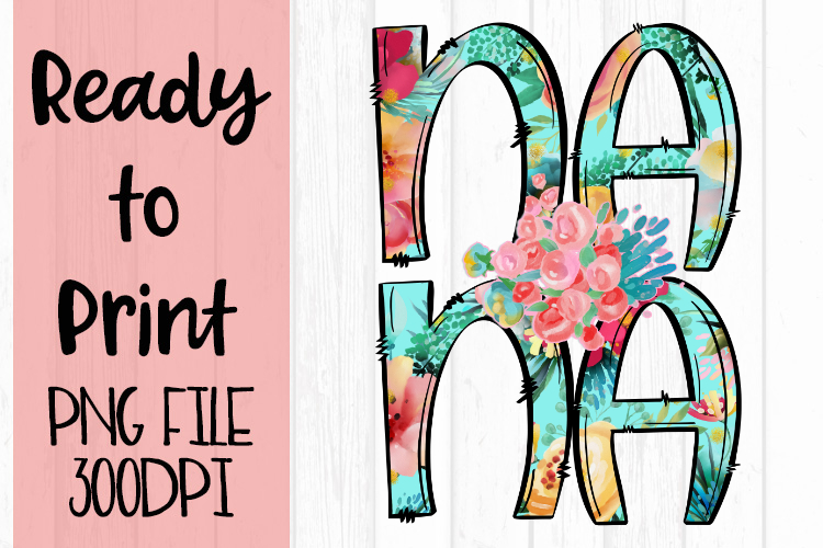 Bright Floral Nana Ready to Print example image 1