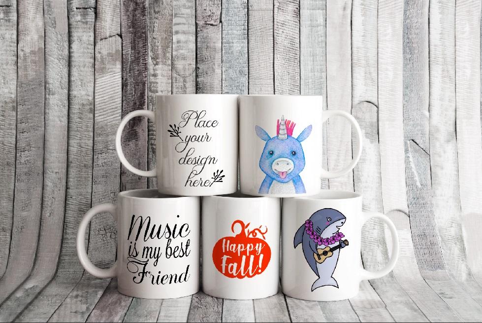 4x Bundle mug mockup PSD sublimation 11oz mugs mockups example image 8