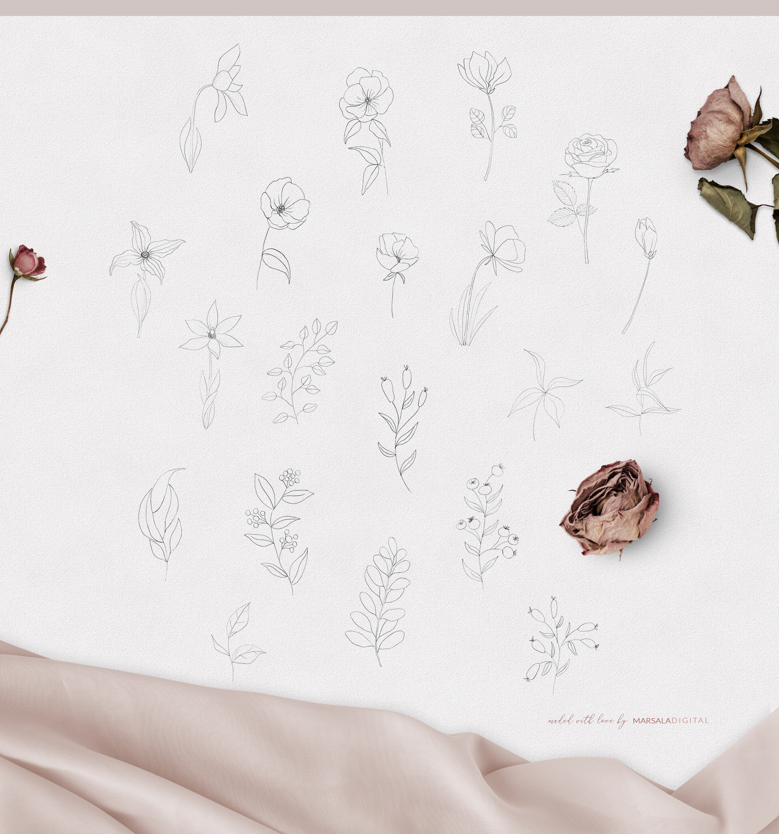 Fine Art Pencil Sketch Florals, Gold Brush Strokes, Textures example image 8