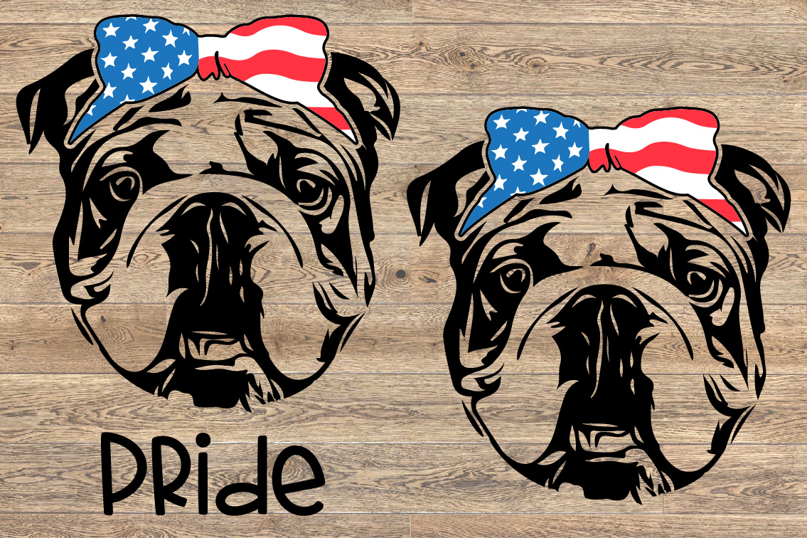 Bulldog USA Bandana Head French Dog 4th July 1380S example image 2