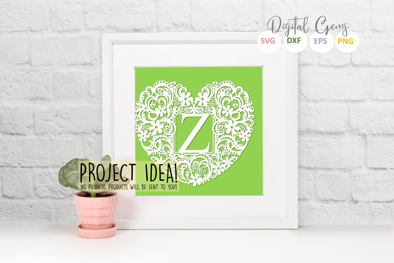 Letter Z paper cut design. SVG / DXF / EPS / PNG files example image 2