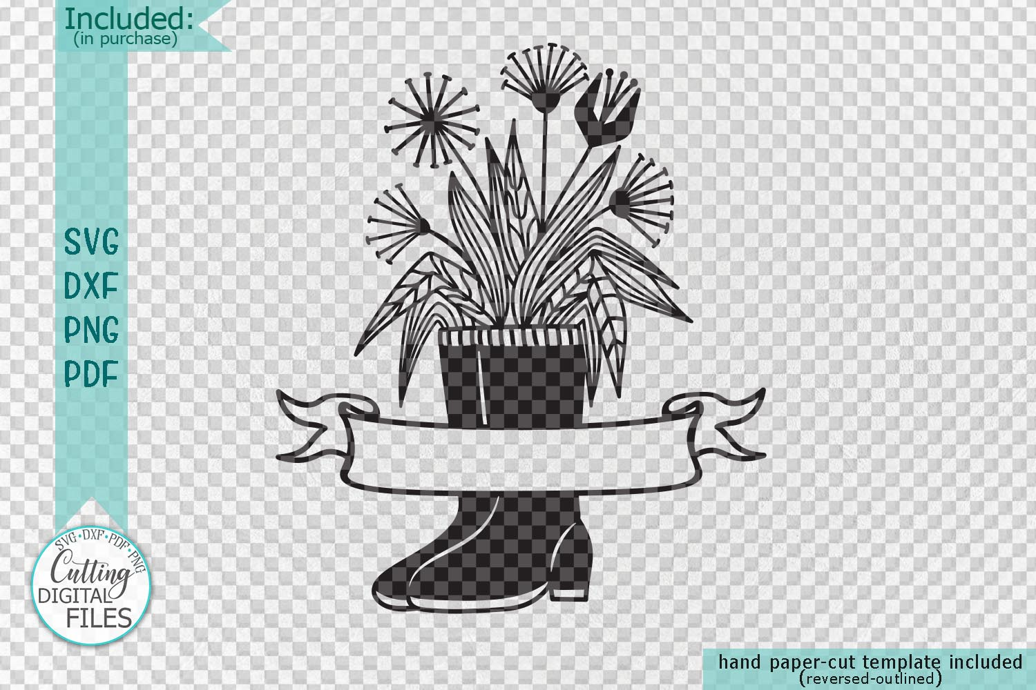 Flowers Wellies Rain boots monogram svg dxf laser paper cut example image 2