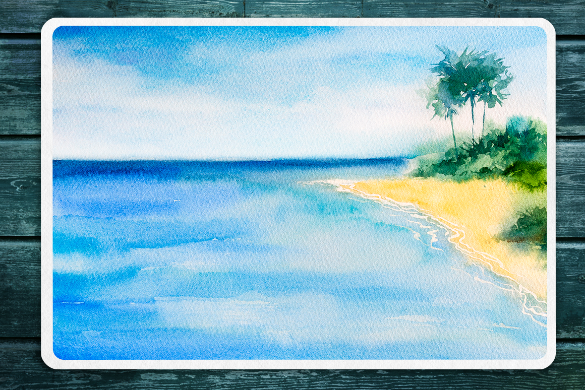 Seascapes 2. Watercolor set. example image 7