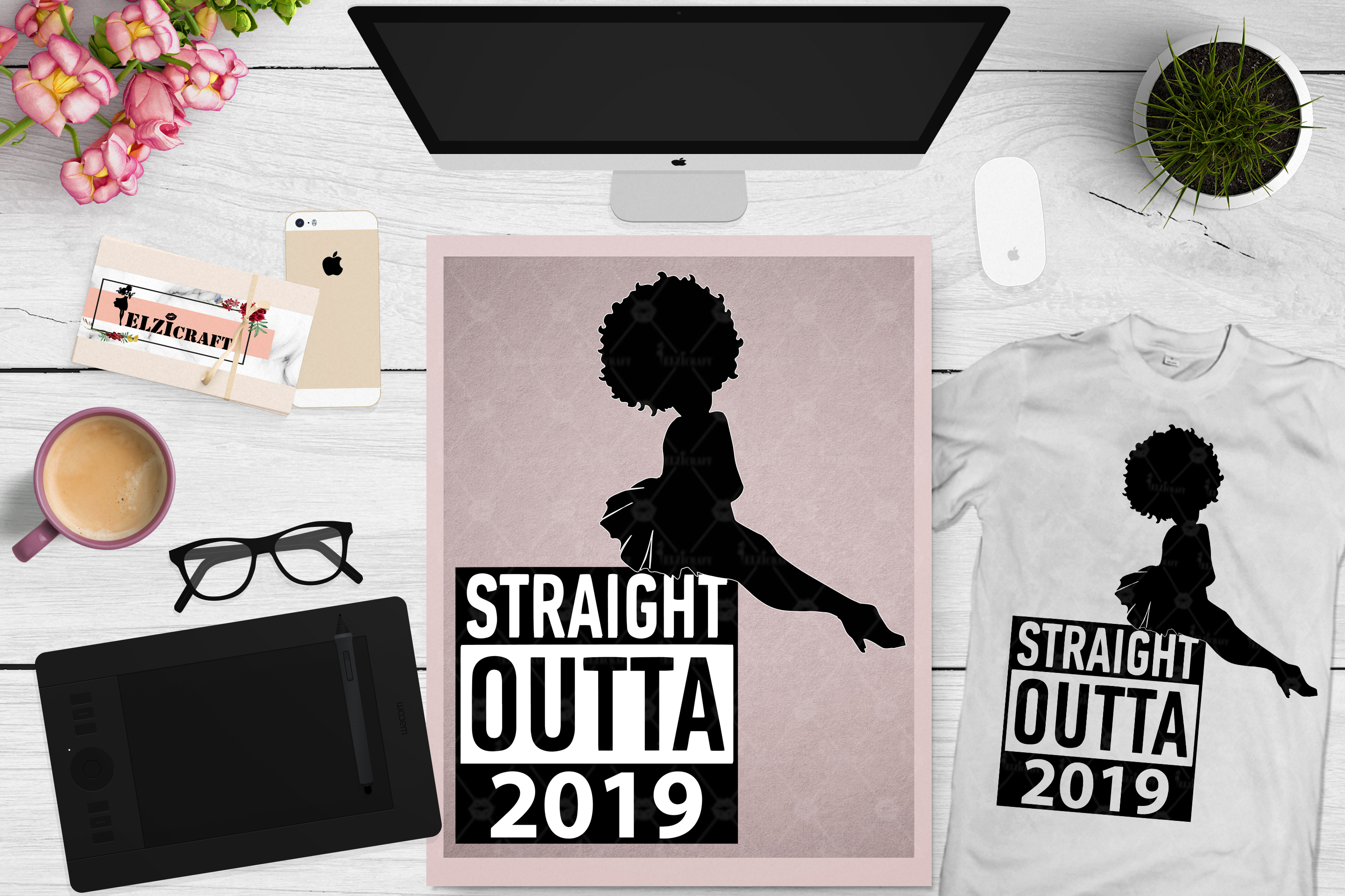 Straight Outta 2019 Afro Woman Hair Silhouette SVG Cut File example image 1