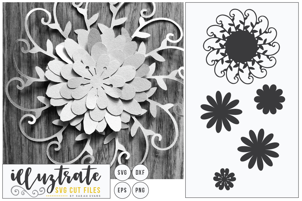 Layered Flower SVG Cut File, Paper Cutting, Paper Cut Flower example image 1