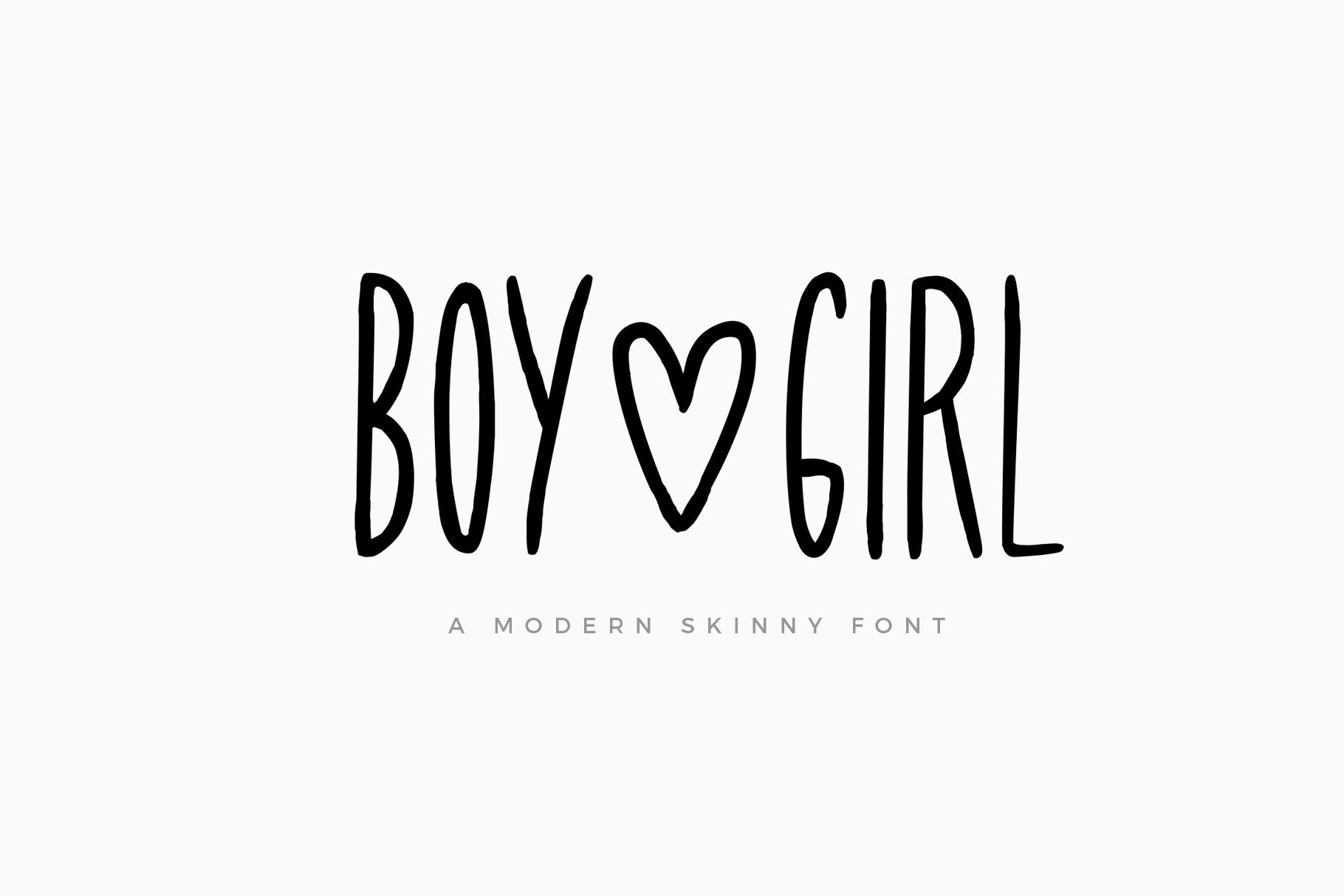 Boy & Girl Skinny Font example image 1