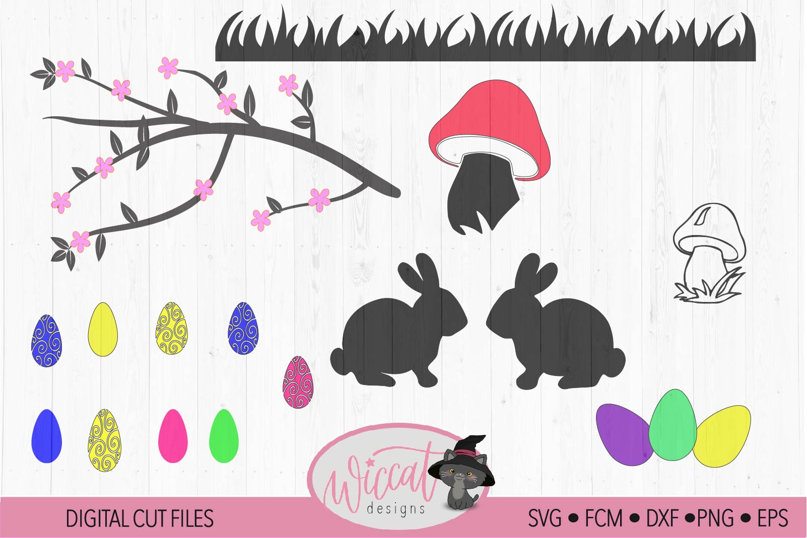 Easter branch Window decal svg, Easter scene svg example image 2