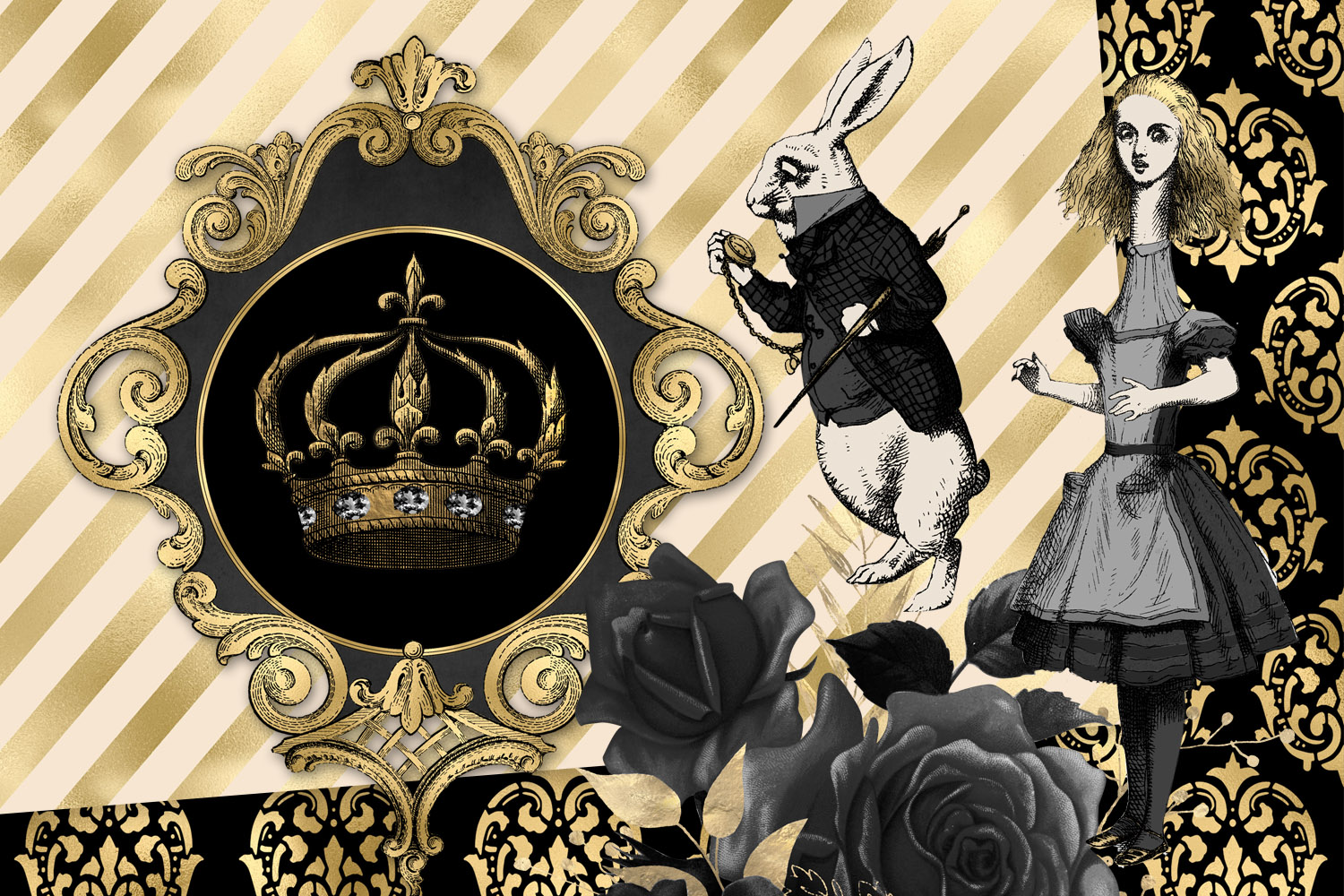 Black and Gold Alice in Wonderland Graphics example image 2
