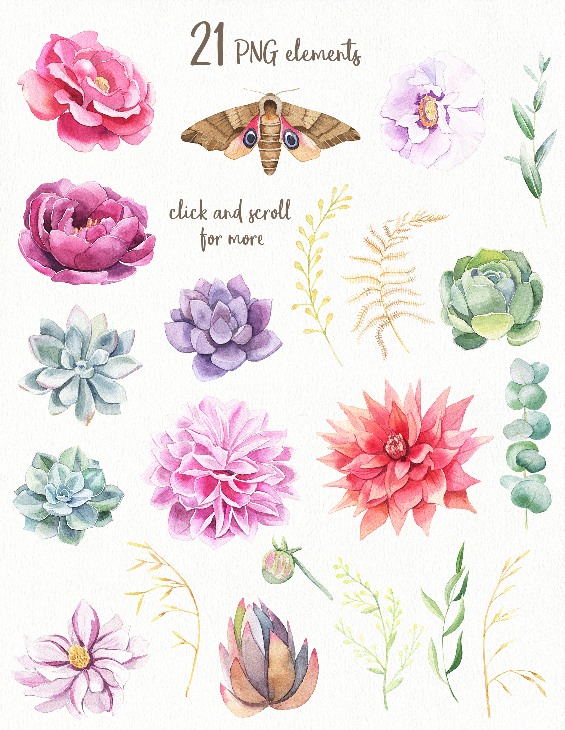 Bright Flowers- Watercolor Set example image 2