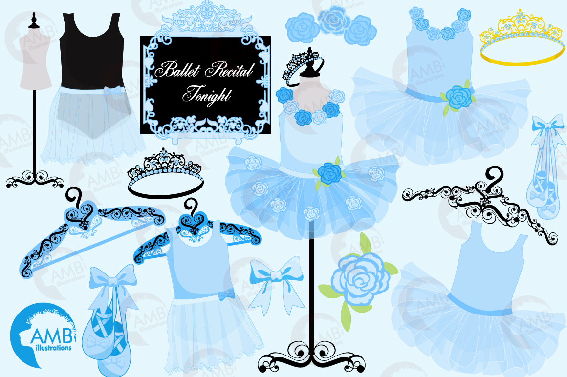 Ballerina Tutus in blue clipart, graphics and illustrations AMB-1319 example image 5