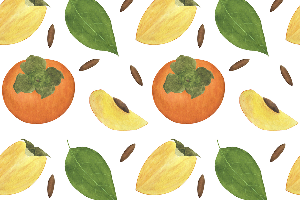Set of persimmon watercolor illustrations. example image 7