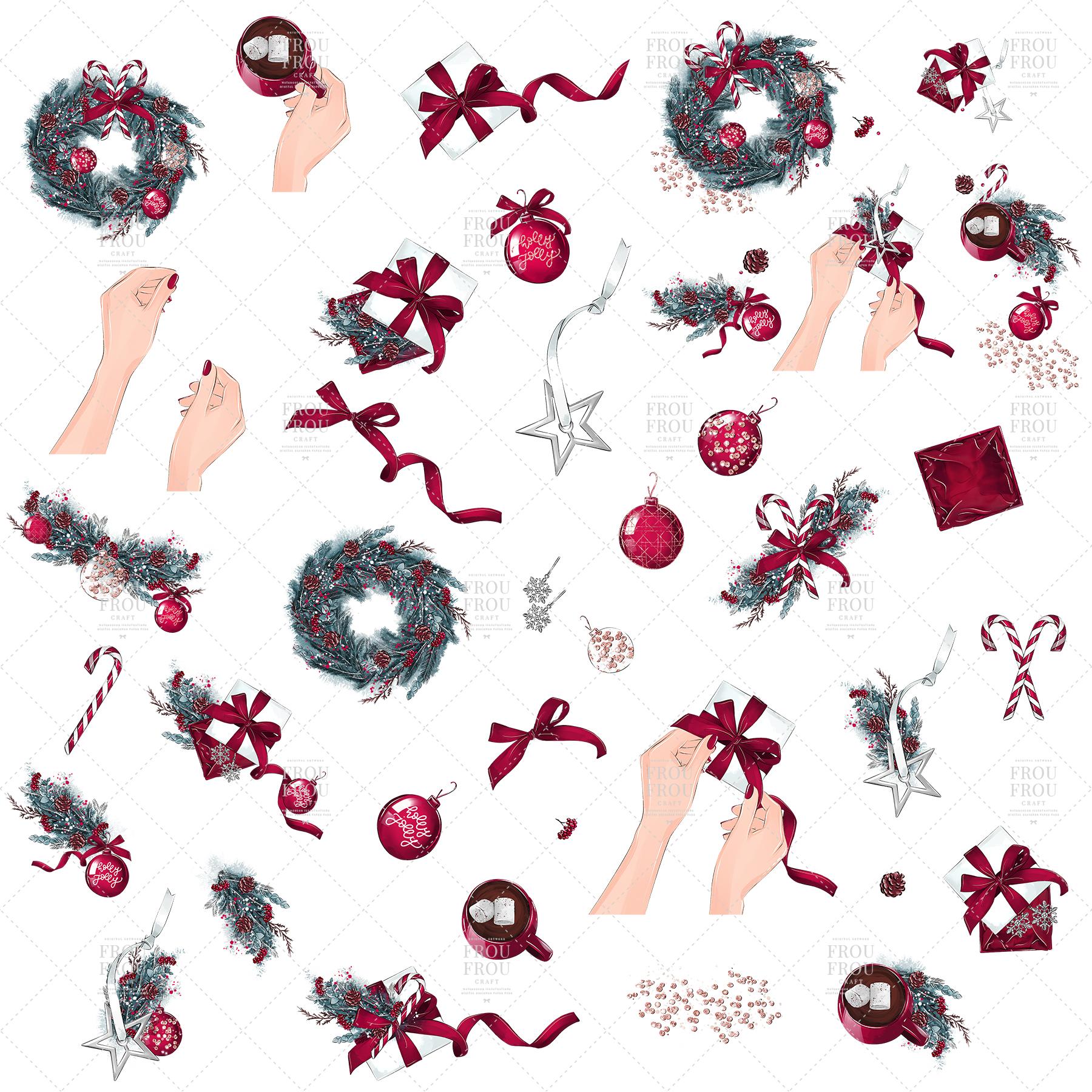 Christmas Tree Winter Present Gift Cozy Clip Art example image 8