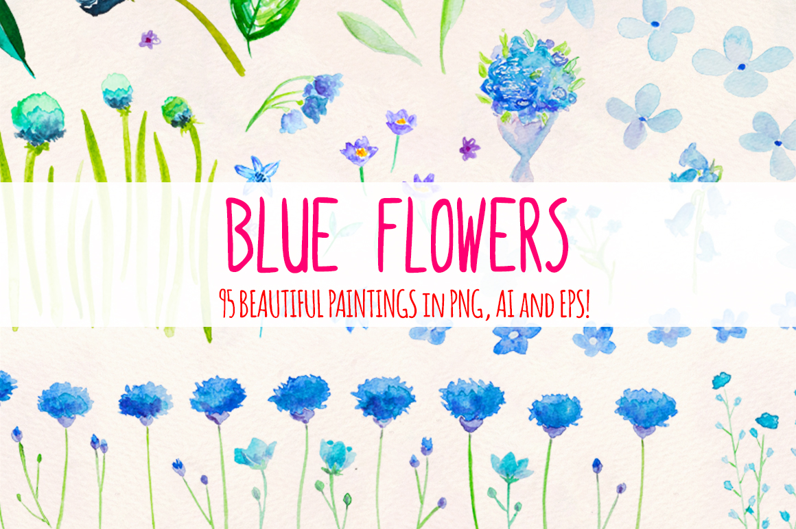 95 Blue Flower Watercolor Elements example image 1