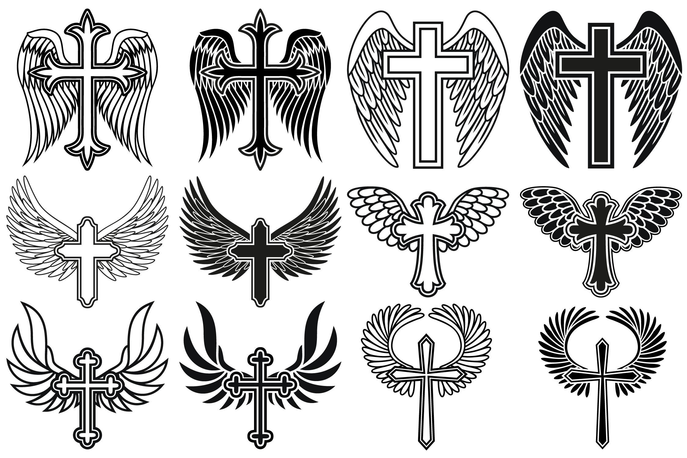 Cross with Wings SVG, Cross Svg, Memorial SVG, Angel Wings example image 2