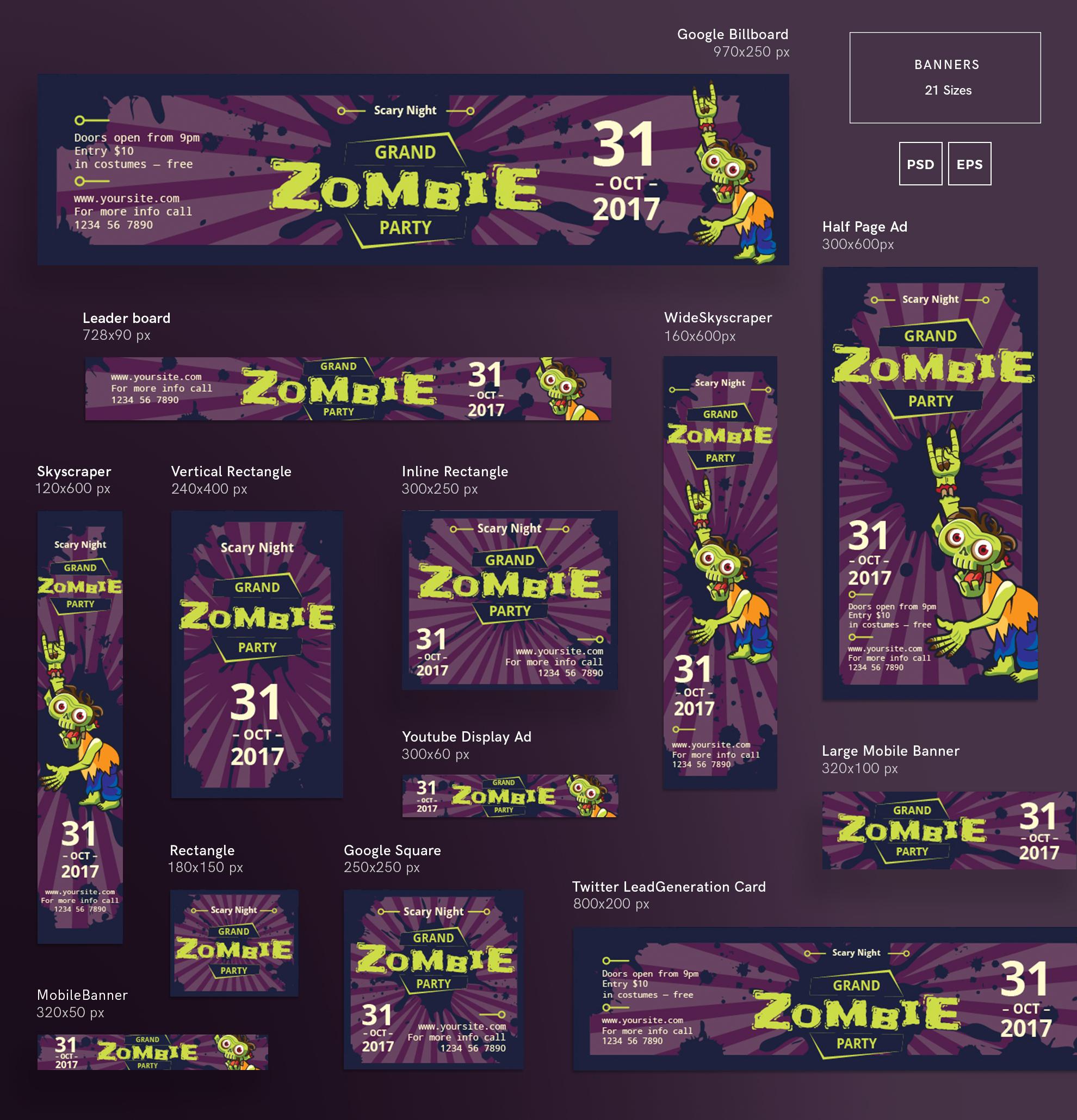 Zombie Party Design Templates Bundle example image 5