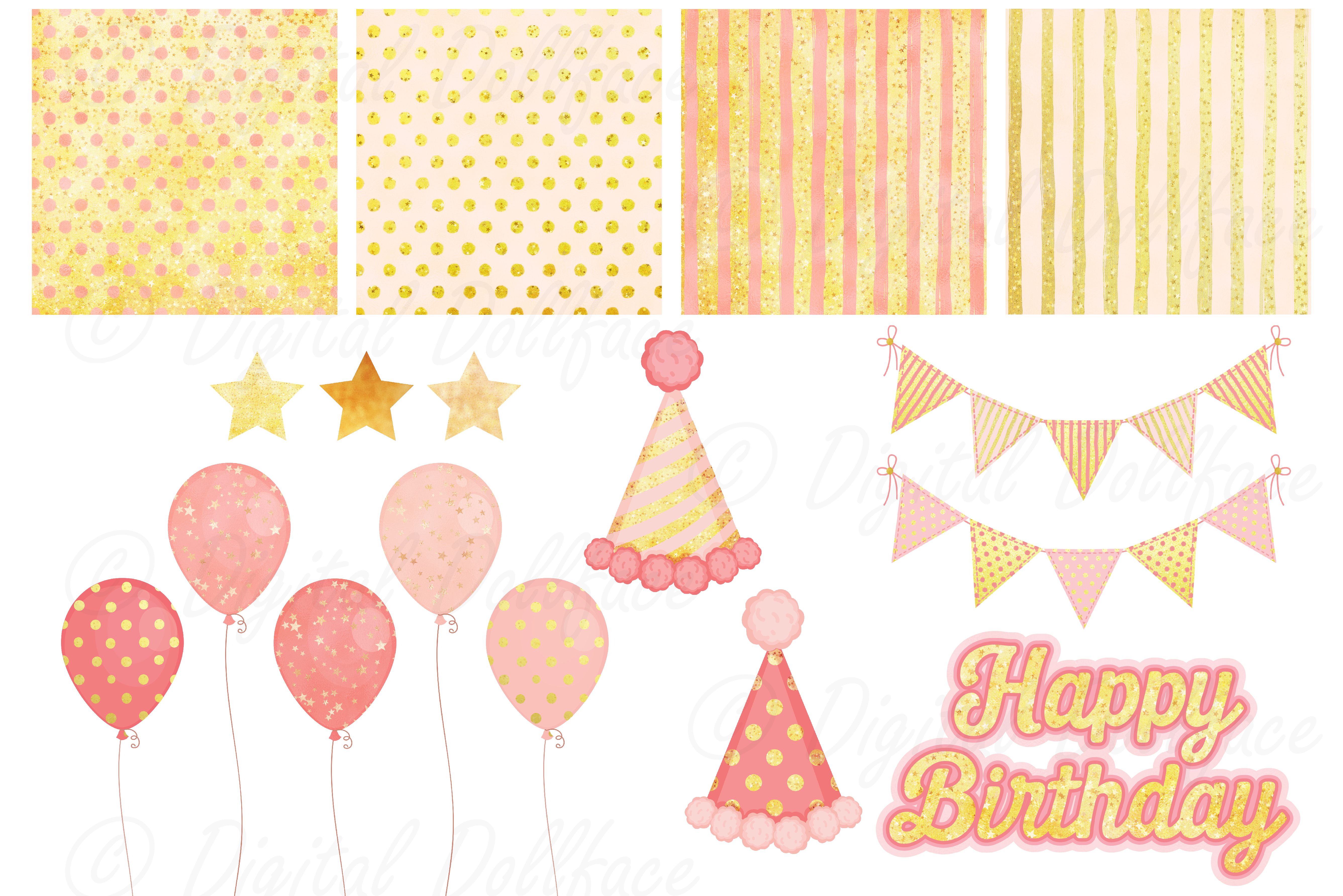 Pink Birthday Clipart Set example image 3