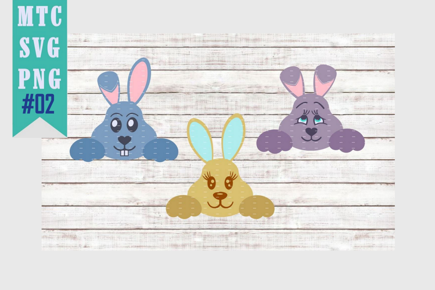 Peeping Easter Bunny Set #2 with Sayings Set #1 SVG Cut File example image 3